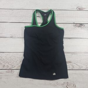 Alo womens black and green racer back tank top s